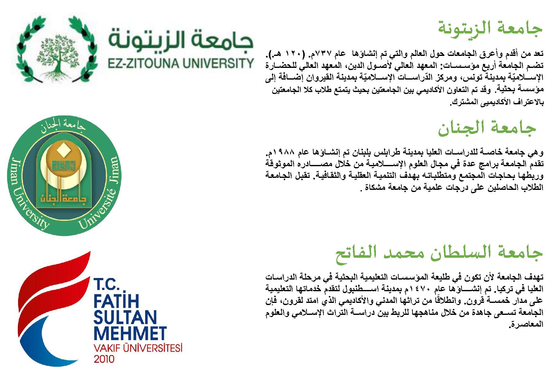 الاتفاقيات المبرمة مع الجامعات الأخرى